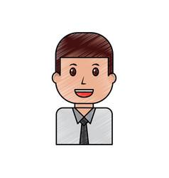 portrait businessman worker character cartoon vector image