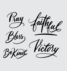 Pray and victory handwriting calligraphy vector