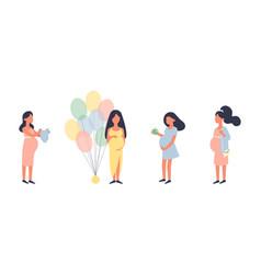 Pregnant woman pregnancy set vector