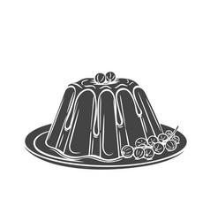 Pudding icon badge dessert vector