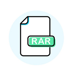 Rar file format extension color line icon vector