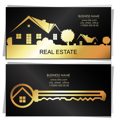 Real estate golden key and houses business card vector