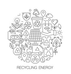 recycling energy in circle - concept line vector image
