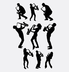 Saxophone instrument player silhouette vector