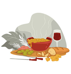 served table in restaurant or home soup and wine vector image