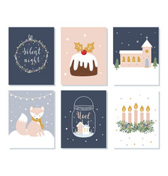 Set christmas and winter holidays cards advent vector