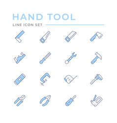 set color line icons hand tool vector image