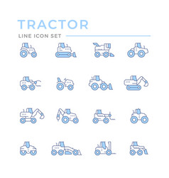 set color line icons tractors vector image