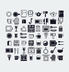 Set dishes pixel art icons set vector