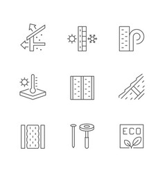 Set line icons insulation vector