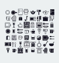 set of dishes pixel art icons set vector image