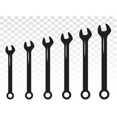 Set spanner basin wrench combination flat vector