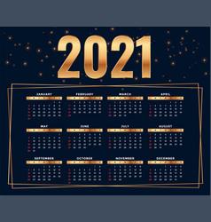 Shiny golden style 2021 calendar design template vector
