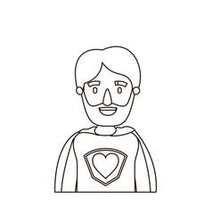 Sketch contour caricature half body super hero vector