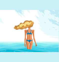 slim young girl from back stands in a sea or vector image