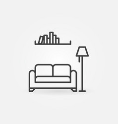 sofa with lamp and booksshelf linear vector image