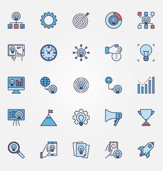 startup colored icons set - start up vector image
