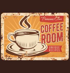 steaming coffee cup rusty metal plate mug vector image