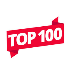 Top 100 best ten list red word on ribbon winner vector