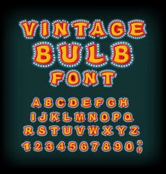 Vintage bulb font glowing letters retro alphabet vector
