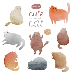 Watercolor cats in vector image