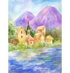 Watercolor summer landscape with lake or river vector