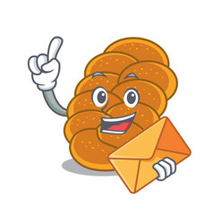 With envelope challah character cartoon style vector