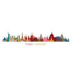 World skyline landmarks silhouette in colorful vector