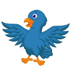 Blue bird cartoon vector image vector image
