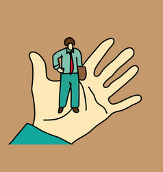 business men standing on palm hand vector image