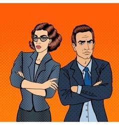 Businessman and Businesswoman Pop Art vector image