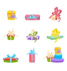 Christmas and birthday gift box Flat design vector image