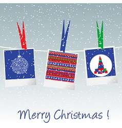 Christmas card with polaroid pictures vector image