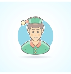 Fairy elf santa assistant minion icon vector