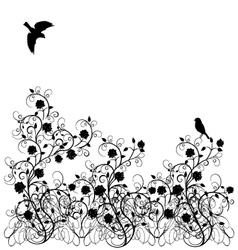 flourishes vintage with birds vector image vector image
