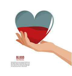hand holding heart blood vector image