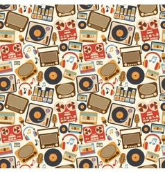 Music retro seamless pattern vector image