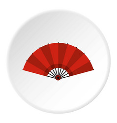 Red open hand fan icon circle vector