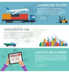 Three banners logistic and transportation vector image vector image