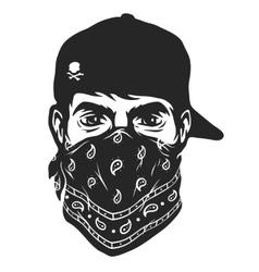 A guy in a baseball cap and bandana vector