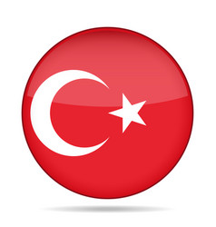 Flag of turkey shiny round button vector
