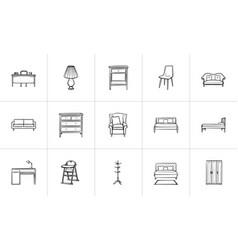 furniture hand drawn sketch icon set vector image