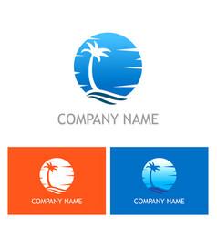 palm tree tropic sunset logo vector image