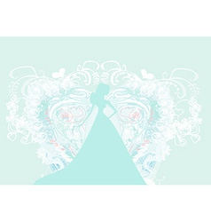 Abstract Beautiful floral bride silhouette vector image