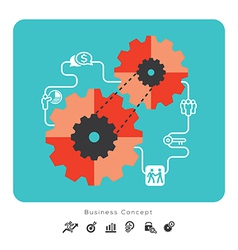 Business Concept Icons with Gear vector image vector image