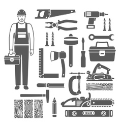 Carpentry tools black silhouettes icons set vector
