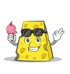 cheese character cartoon style with ice cream vector image