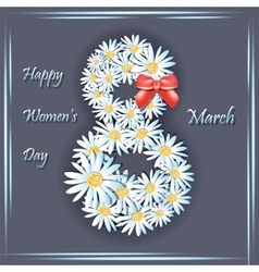 Daisy flowers on the greeting card for Womens day vector image vector image