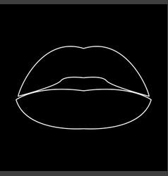 Lipstick or lips white color path icon vector