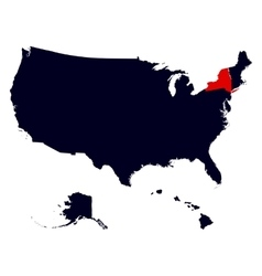 New York State in the United States map vector image